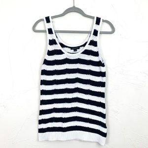 BANANA REPUBLIC Black & White Knit Striped Tank M